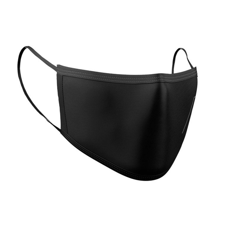 BLK GREY RETRO CREST FACE MASK