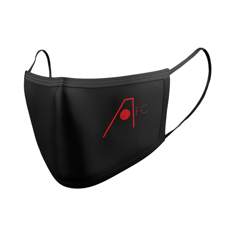 RETRO CREST BLK RED FACE MASK